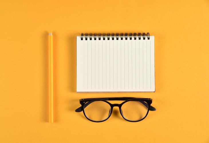 Notebook, pencil